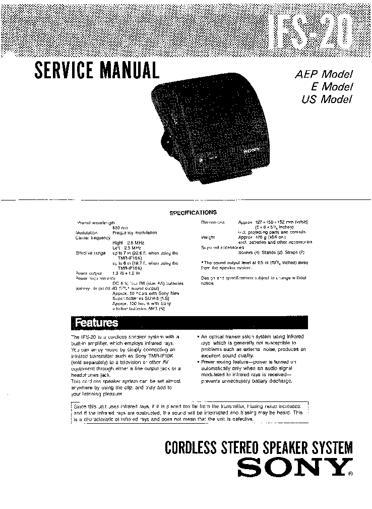 SONY IFS-20 service manual (1st page)