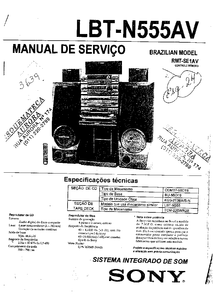 SONY LBT N555AV service manual