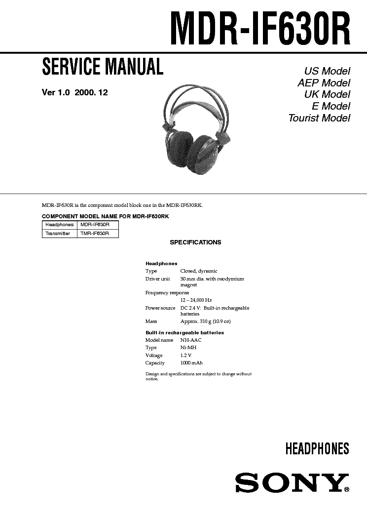 SONY MDR-IF630R service manual