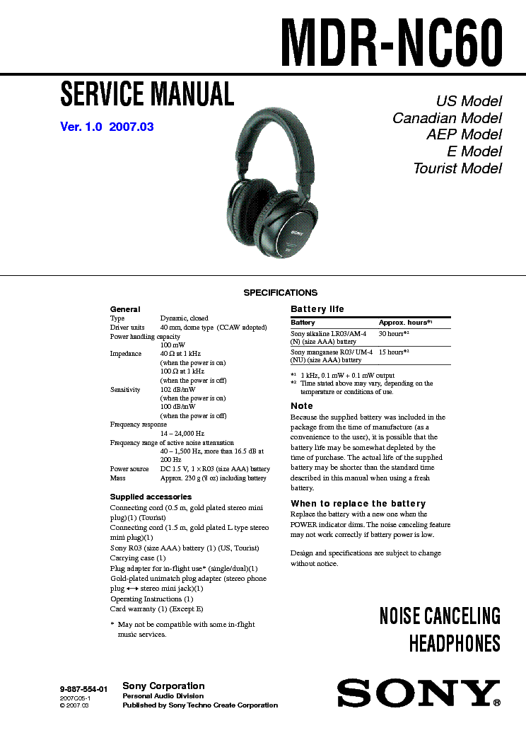 SONY MDR-NC60 service manual