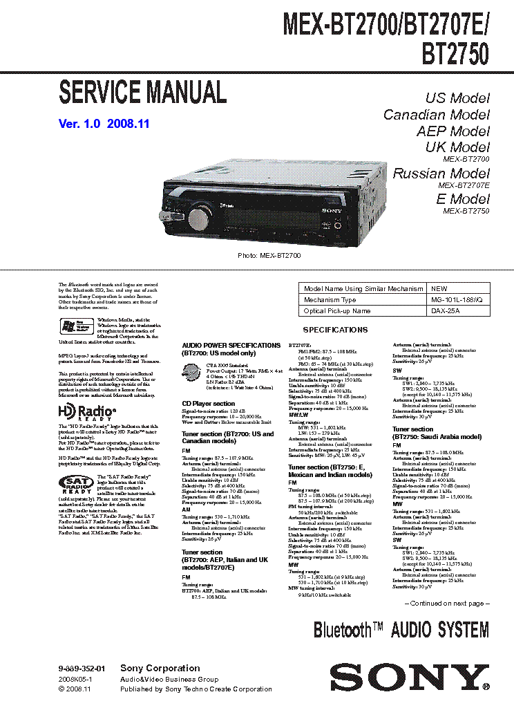sony mex bt2700 bt2707e bt2750 service manual download schematics rh elektrotanya com Sony Xplod MEX-BT2700 Manual Sony Xplod Car Stereo Bluetooth