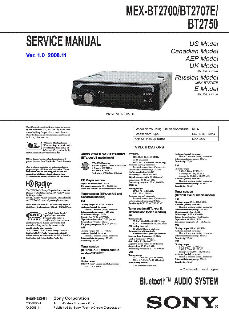 sony mex bt2700 bt2707e bt2750 service manual free schematics eeprom repair info for