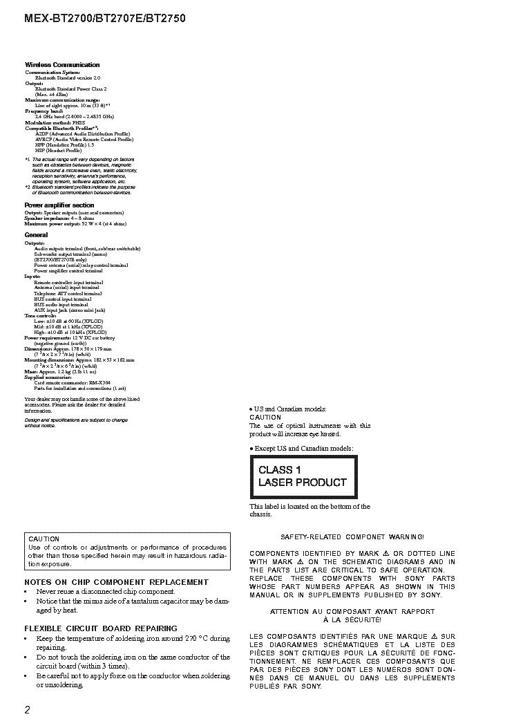 sony mex-bt2700 bt2707e bt2750 service manual (2nd page)