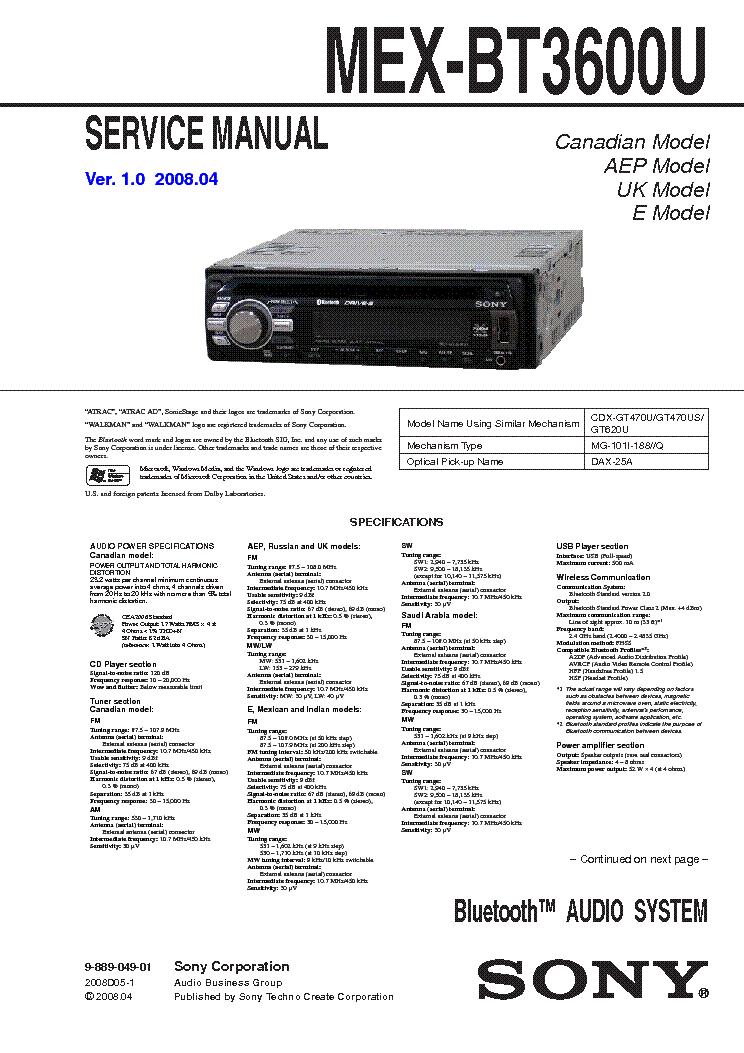 sony icf c ver service manual schematics sony mex bt3600u