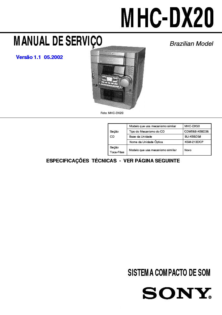 SONY MHC-DX20 service manual
