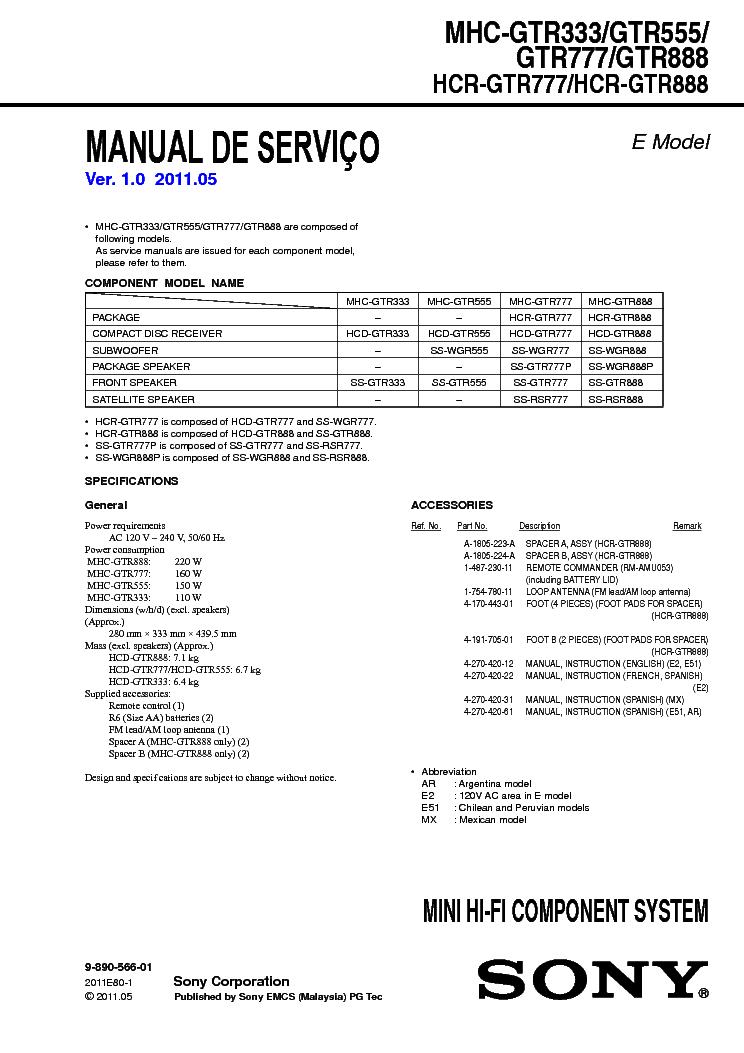Sony Mhc-gtr333 Manual