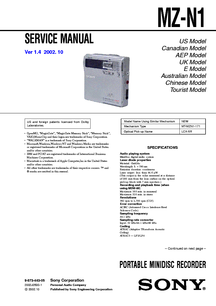 free sony owners manual