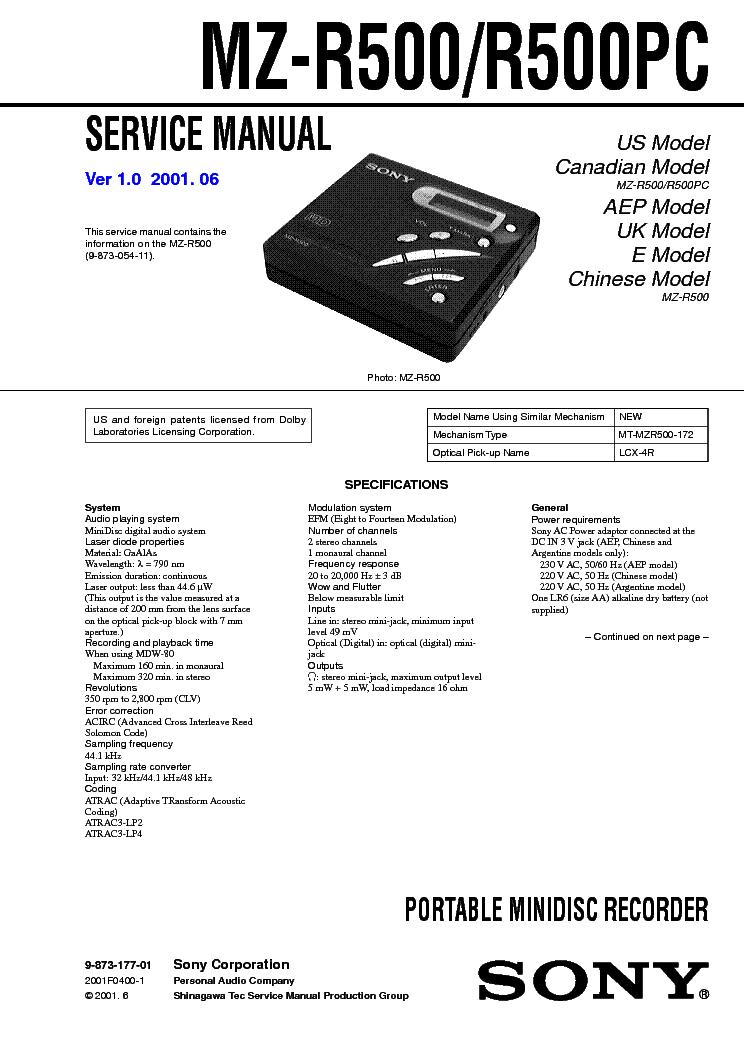 free download sony mz-1 manual pdf