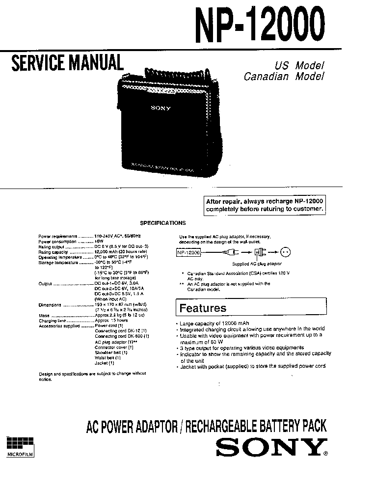 SONY NP-12000 service manual