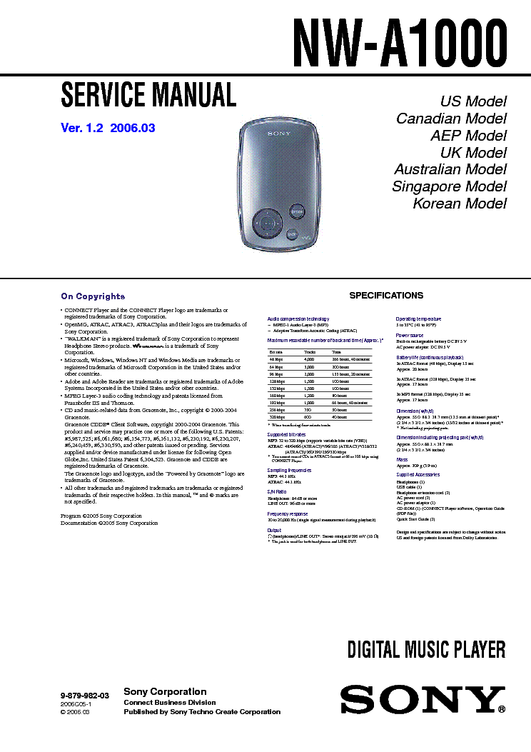 SONY NW-A1000 VER-1.2 SM service manual