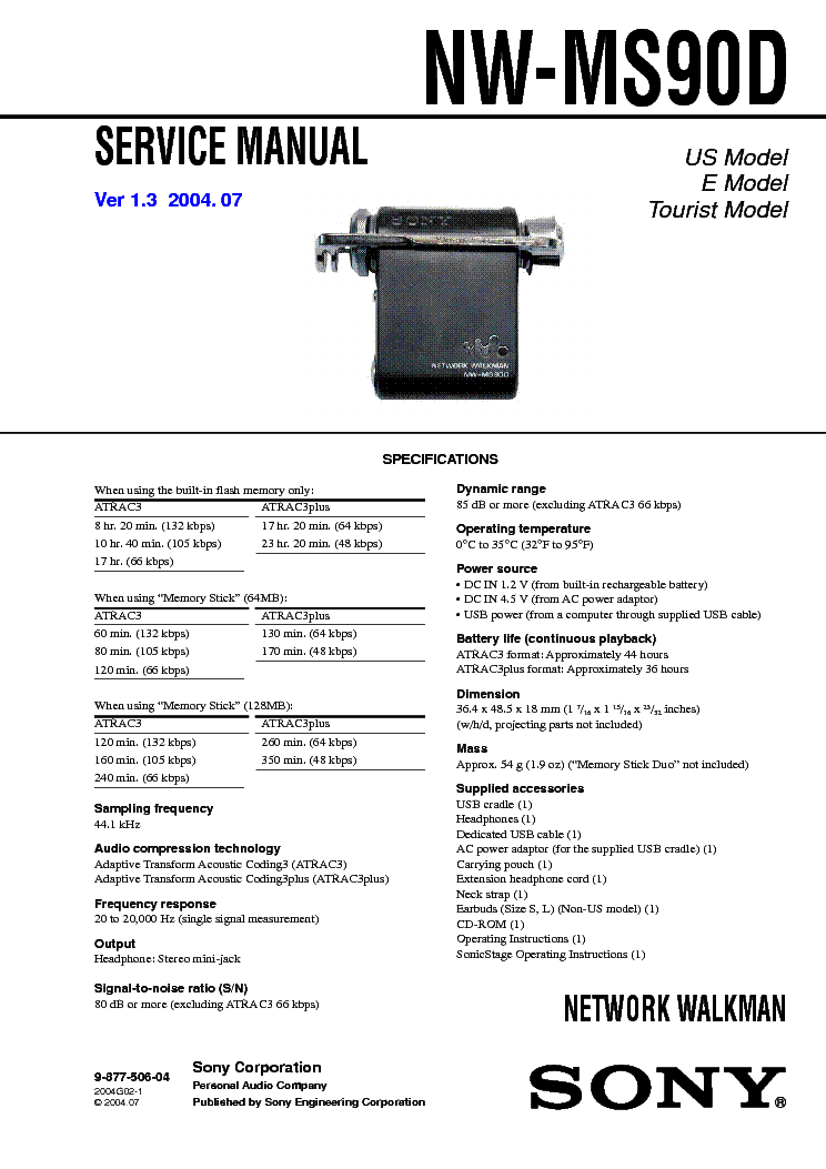 SONY NW-MS90D service manual