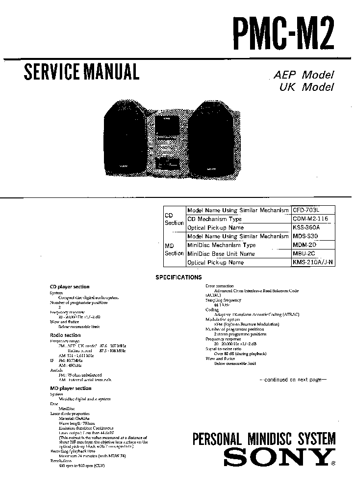 SONY PMC-M2 SM service manual