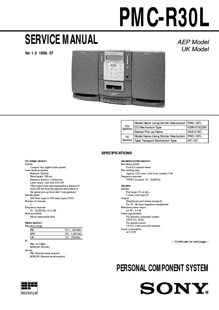 SONY PMC-R30L VER-1.0 SM service manual