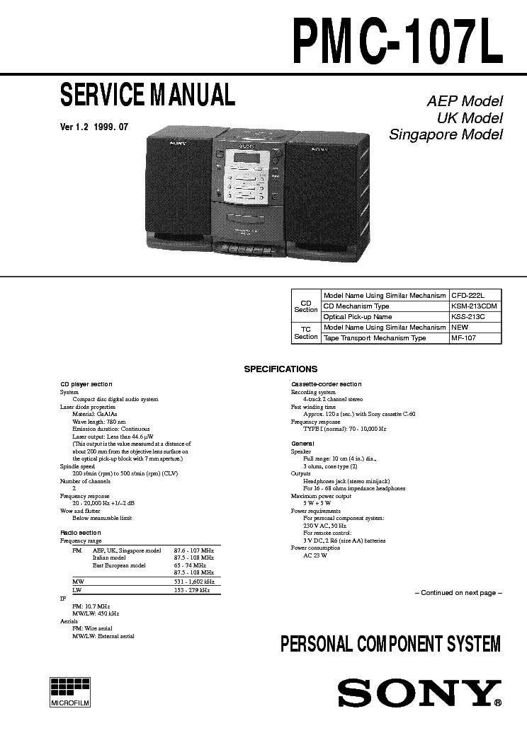 SONY PMC107L service manual