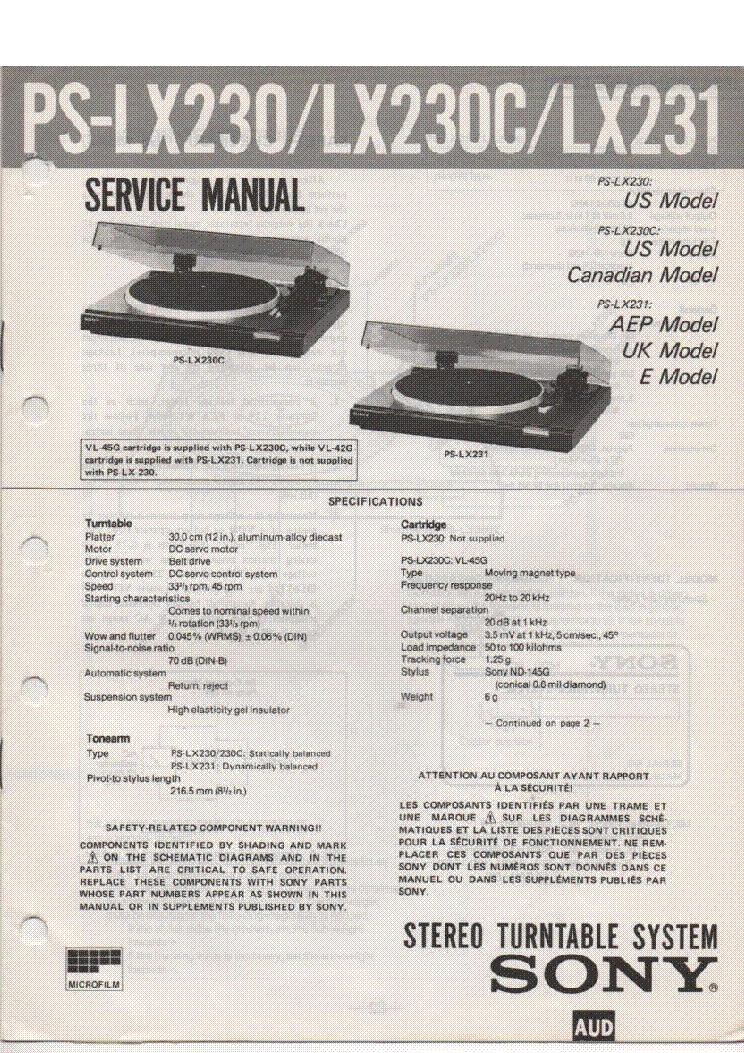 sony ps lx520 service manual