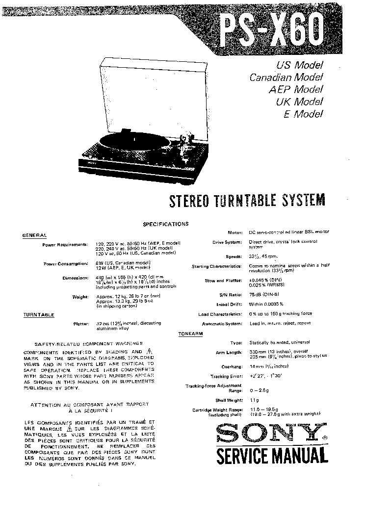 SONY PS-X60 SM service manual