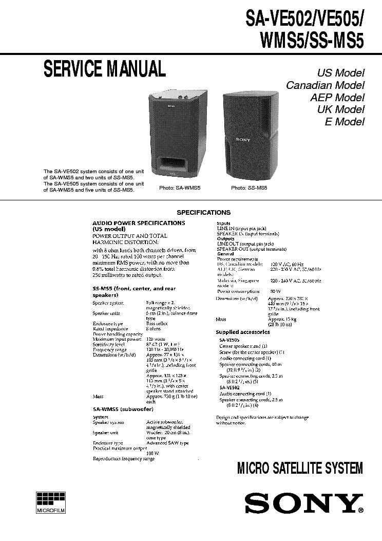 SONY SA-VE502 VE505 WMS5 SS-MS5 service manual (1st page)