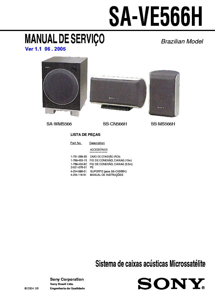 SONY SA-VE566H VER-1.1 SM service manual
