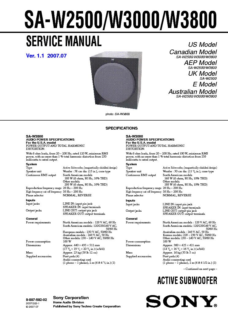 sony sa w2500 w3000 w3800 service manual download schematics rh elektrotanya com Sony S-Master Digital Amplifier Sony S-Master Digital Amplifier