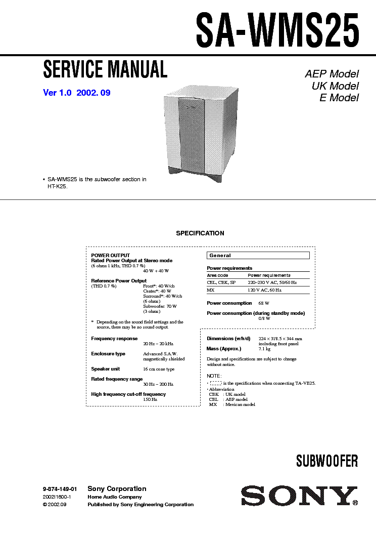 sony sa wms25 service manual service manual download schematics rh elektrotanya com Service ManualsOnline HP Owner Manuals