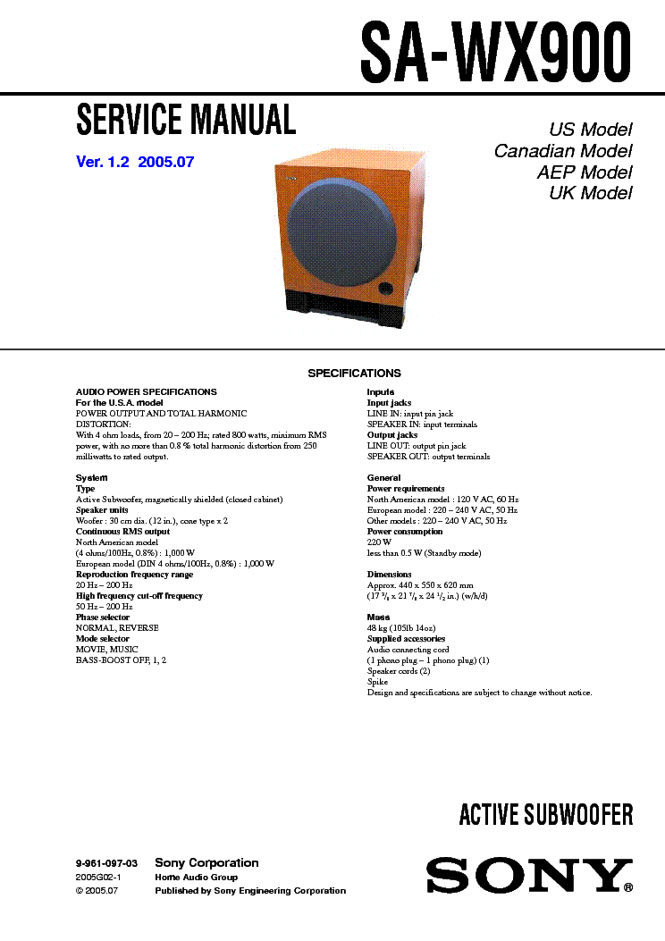 SONY SA-WX900 service manual