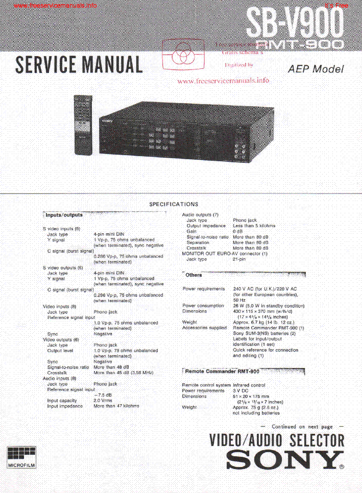 SONY SB V900 Service Manual download, schematics, eeprom, repair