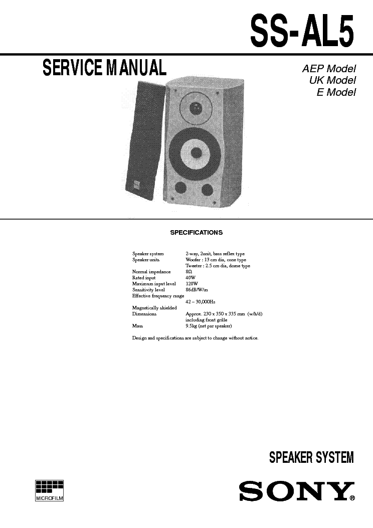 SONY SS-AL5 service manual