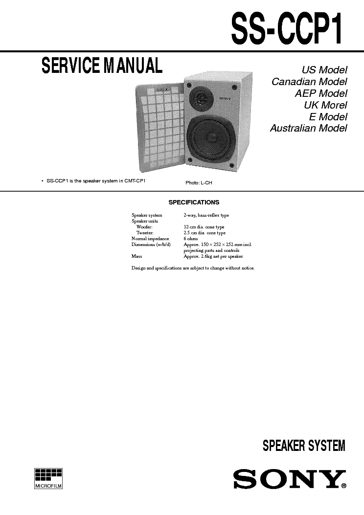 Sony Ss Ccp1 Service Manual Download Schematics Eeprom