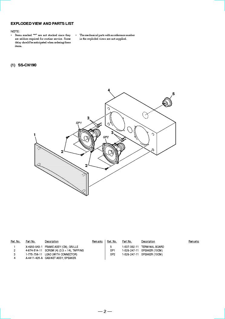 SONY SS-CN190 CR190 SR190 SM Service Manual download, schematics