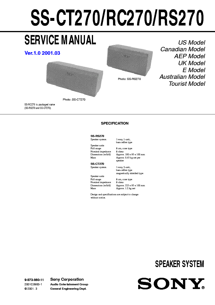 SONY SS-CT270 RC270 RS270 service manual
