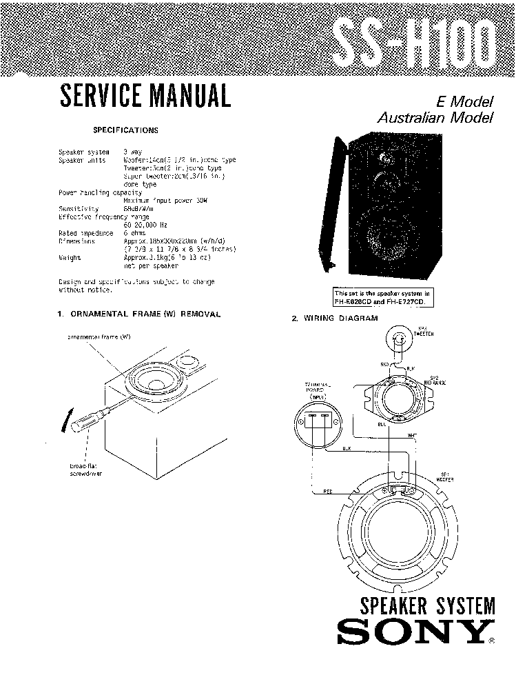 SONY SS-H100 service manual (1st page)
