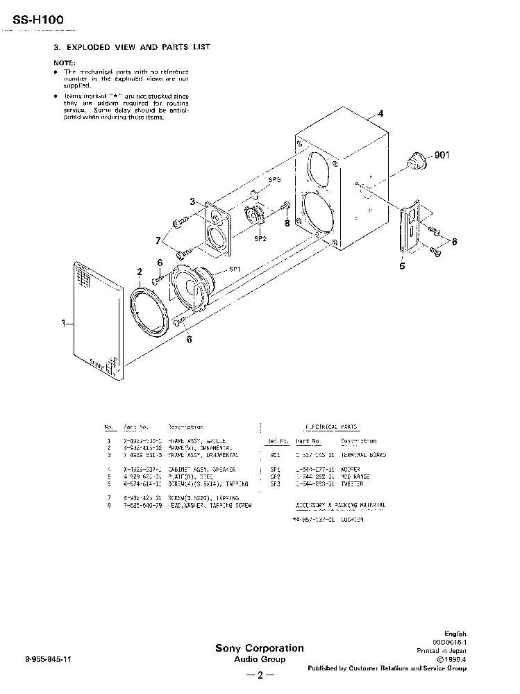 SONY SS-H100 service manual (2nd page)