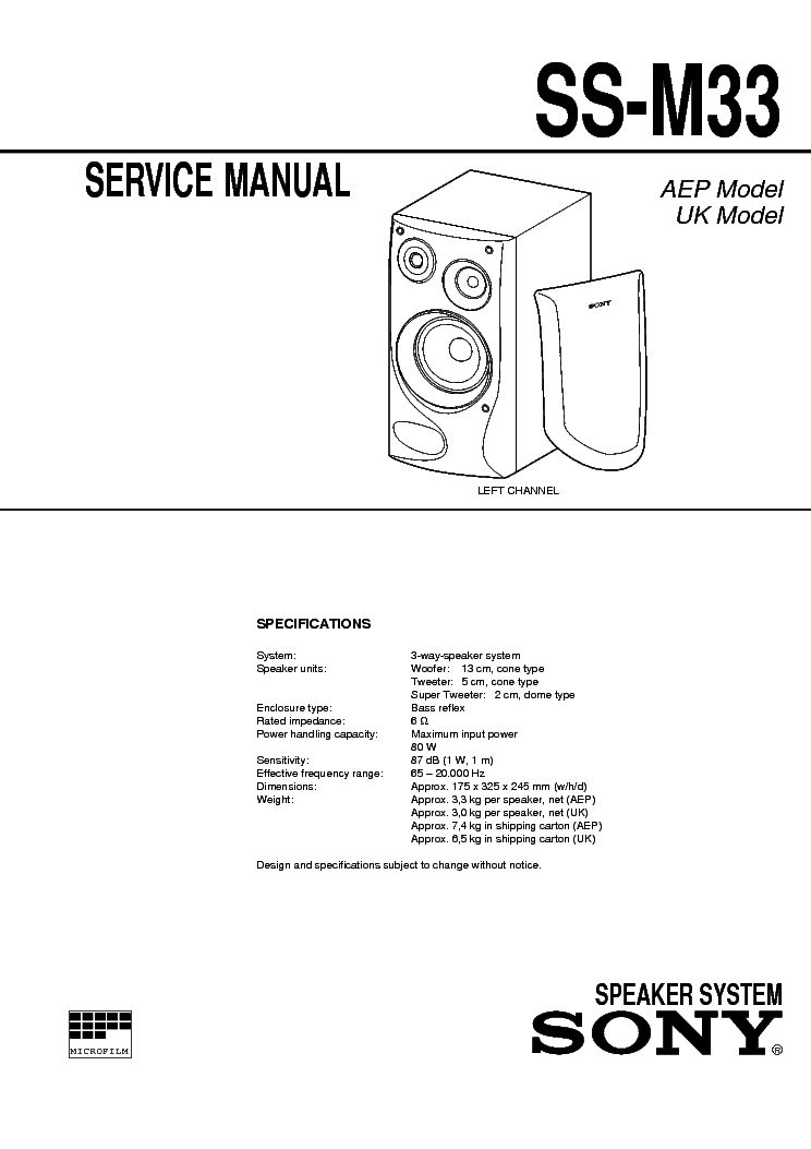 SONY SS-M33 service manual
