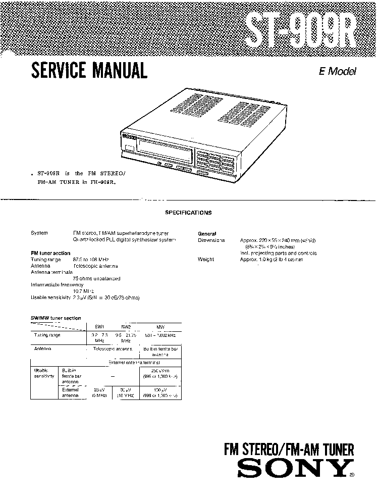 SONY ST-909R SM service manual (1st page)