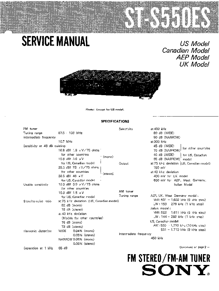 SONY ST-S550ES service manual (1st page)