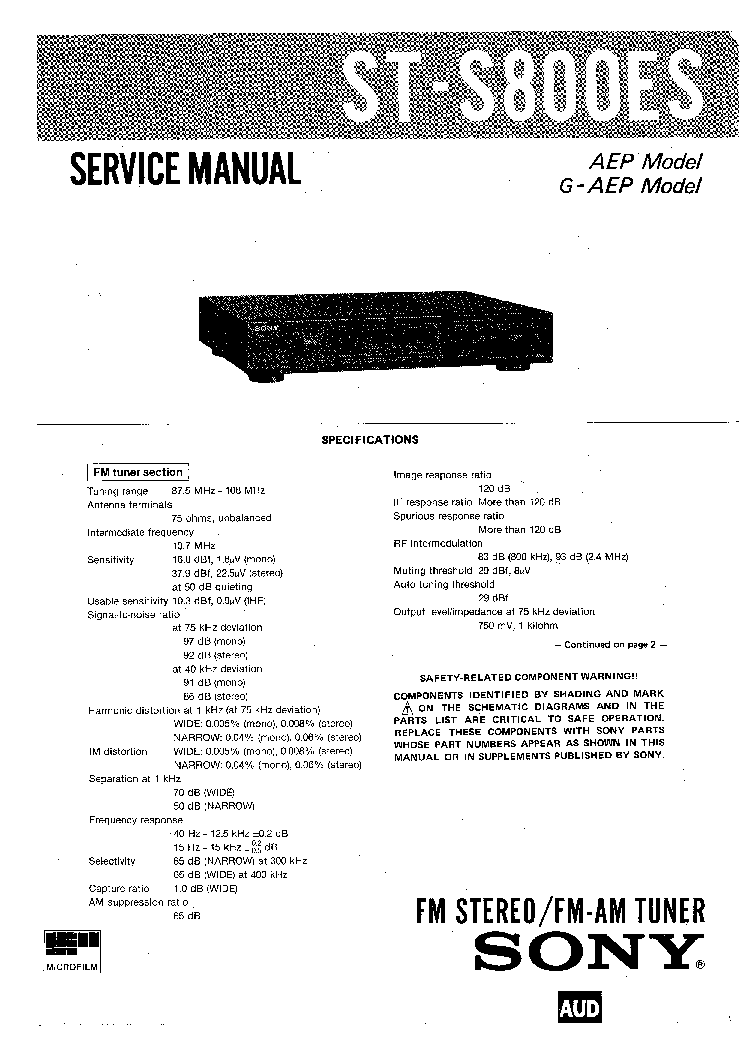 SONY ST-S8000ES service manual