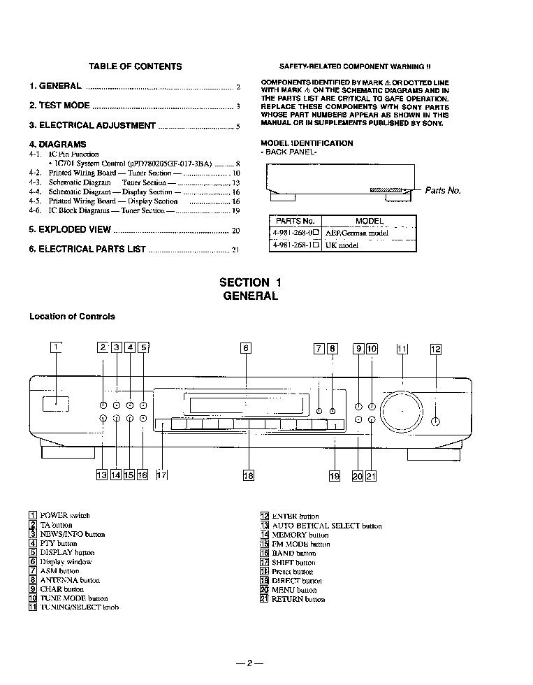 sony st-se700 service manual (2nd page)