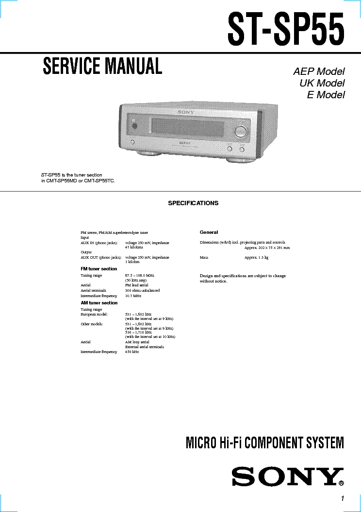 SONY ST-SP55 service manual