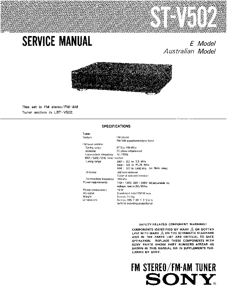 SONY ST-V502 E AUS SM service manual
