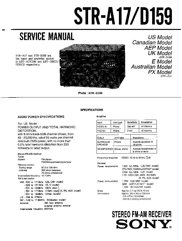 SONY STR-A17 D159 service manual