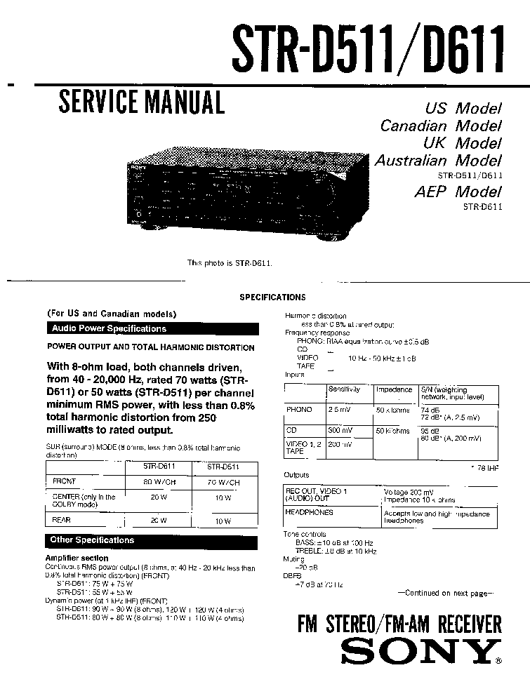 SONY STR-D511,611 service manual