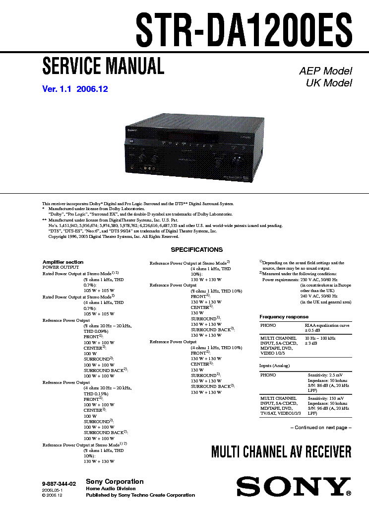 SONY STR-DA1200ES VER-1.1 SM service manual