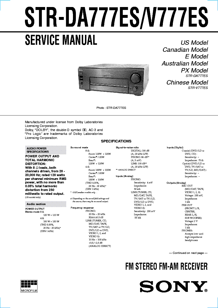 SONY STR-DA777ES-V777ES service manual