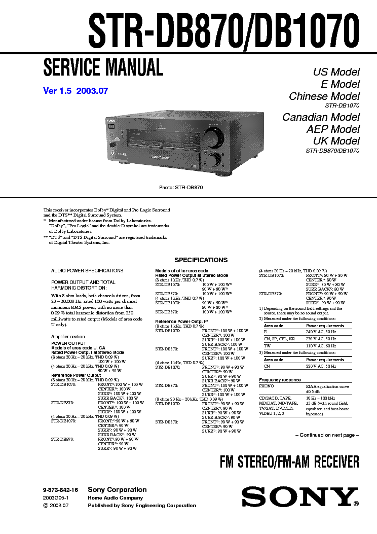 SONY STR-DB870 DB1070 VER1.5 service manual