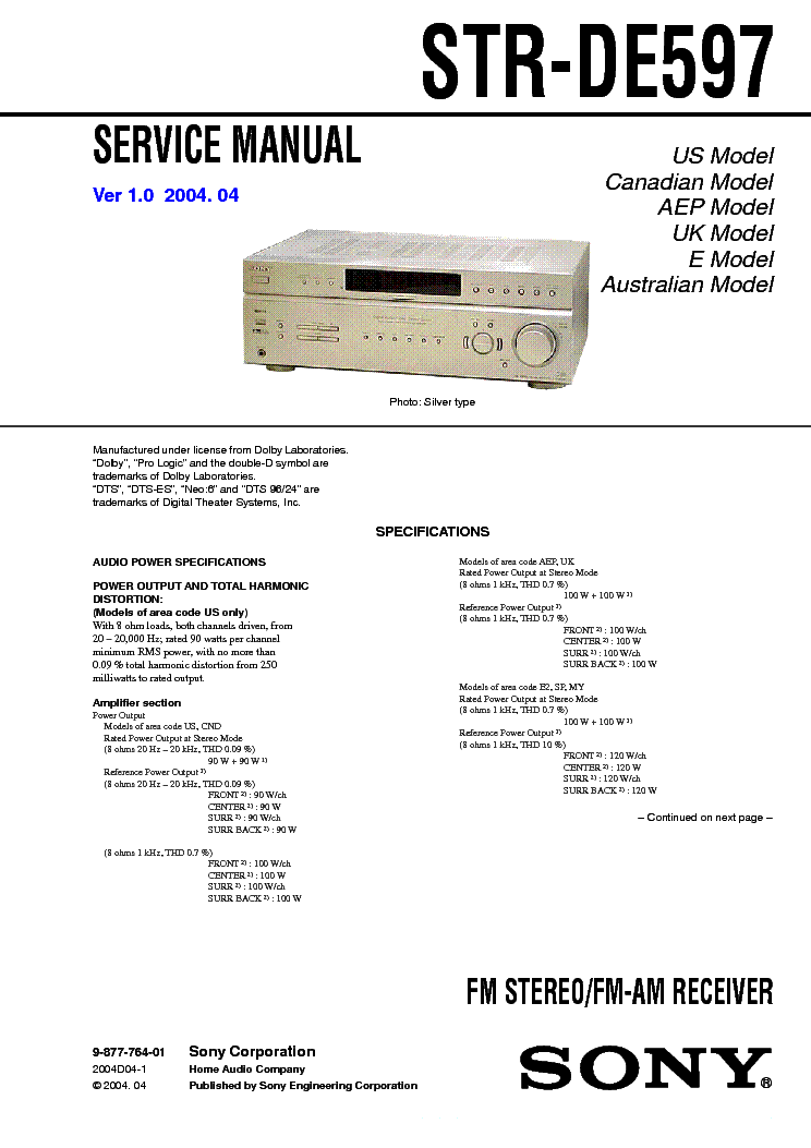 SONY STR-DE597 VER1.0 SM service manual