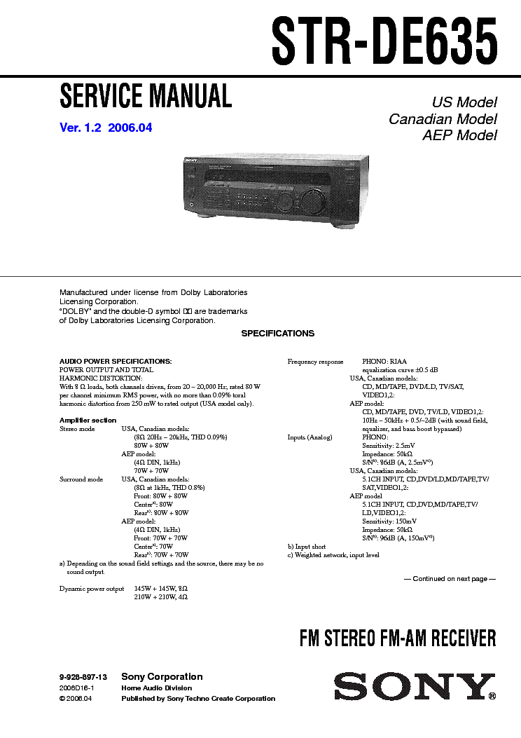 SONY STR-DE635 VER1.2 service manual
