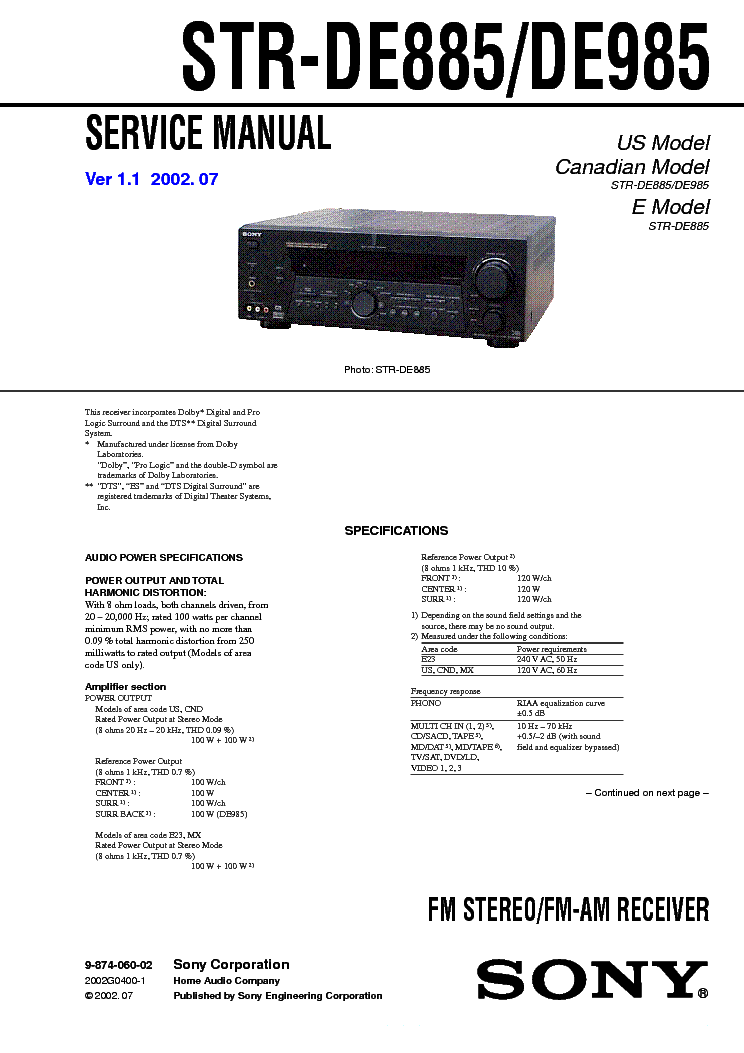 SONY STR-DE885 DE985 VER1.1 service manual