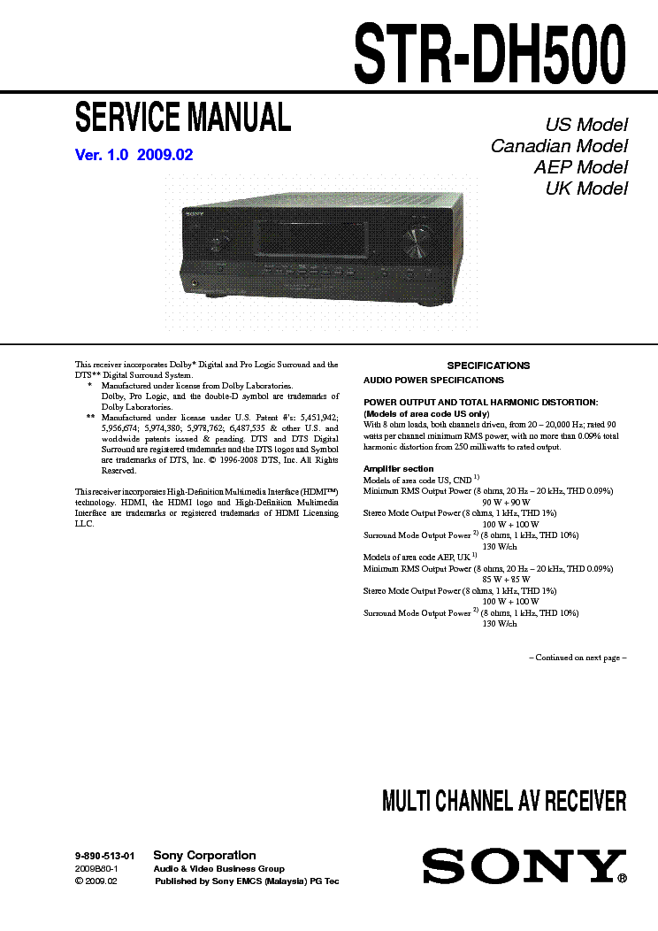 SONY STRDH VER SM Service Manual Download Schematics - Us area code pdf