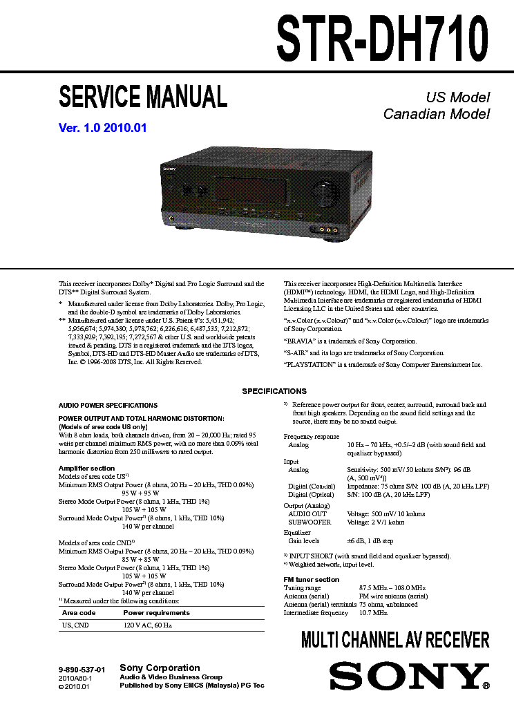 SONY STR-DH710 VER-1.0 SM service manual