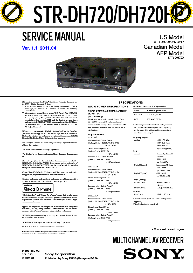 SONY STR-DH720 HP VER1.1 service manual
